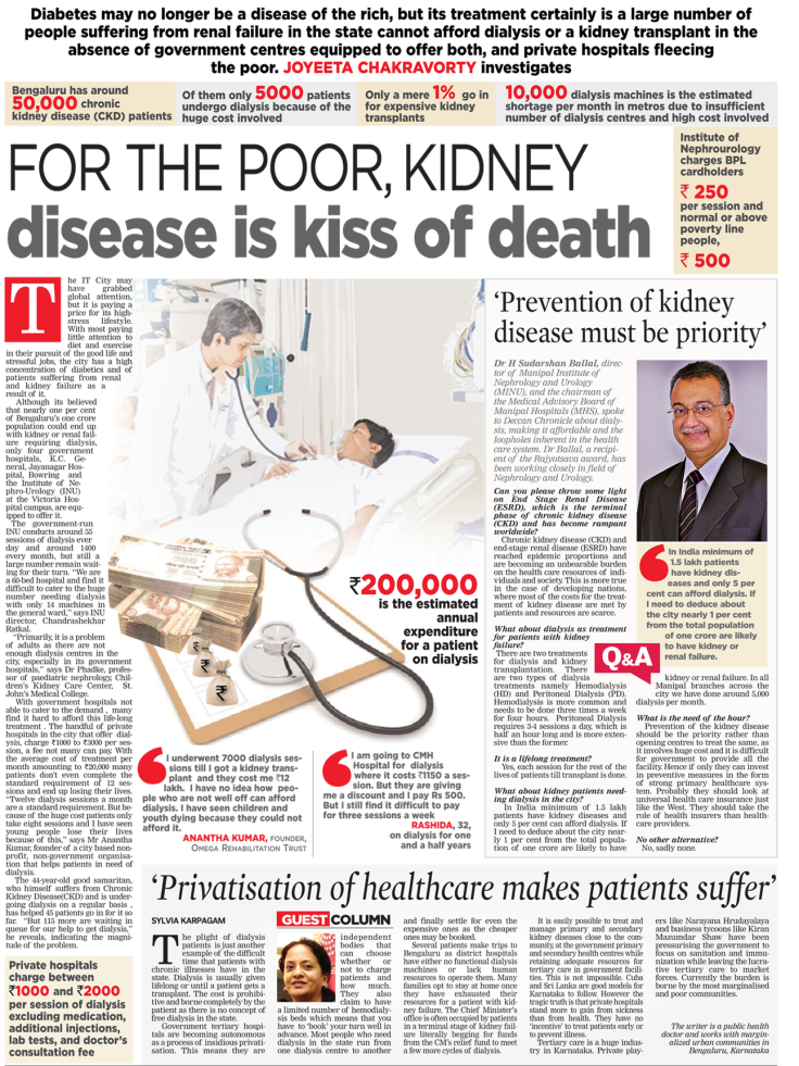 For the poor, Kidney disease is the kiss of death